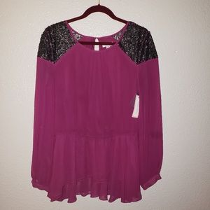 NWT Bisou Bisou large purple and black blouse